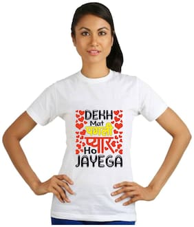 Crazy Sutra Women White Regular fit Round neck Cotton T shirt