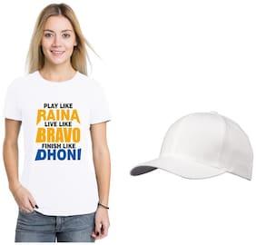 Crazy Sutra Women Printed Round neck T shirt - White