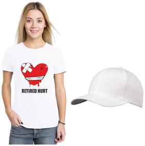 Crazy Sutra Women White Regular fit Round neck Polyester T shirt