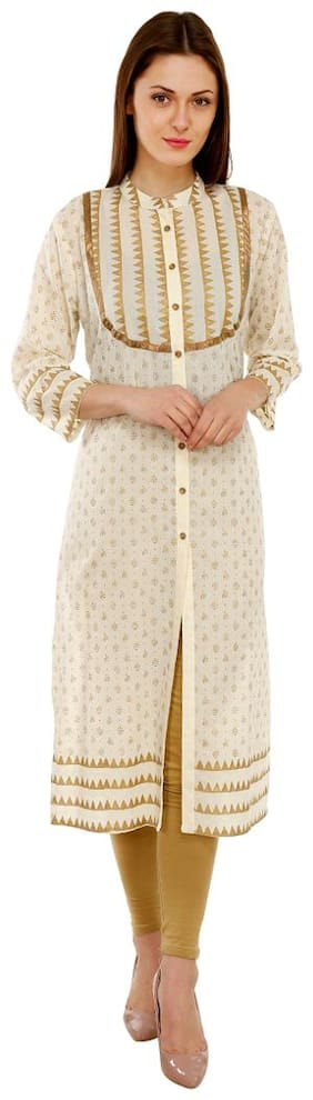 Luxury Living Cream Block Print Kurti