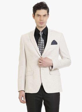 Cream Linen Men's Jacket