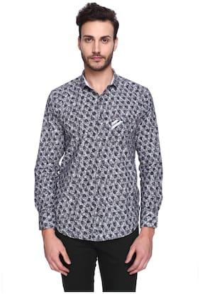 CREO Men Grey Floral Regular Fit Casual Shirt