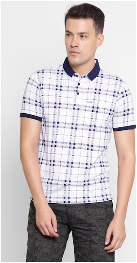 Men Polo Neck Checked T-Shirt