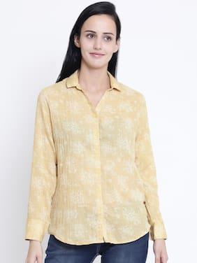 Crimsoune Club Women Slim Fit Printed Shirt - Yellow