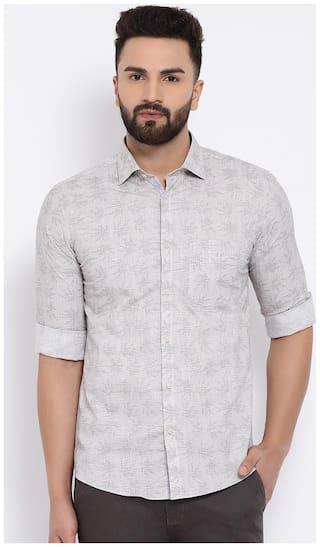 Crimsoune Club Men Grey Printed Slim Fit Casual Shirt