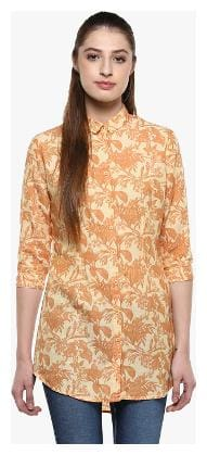Crimsoune Club Women Polyester Printed - Regular top Yellow