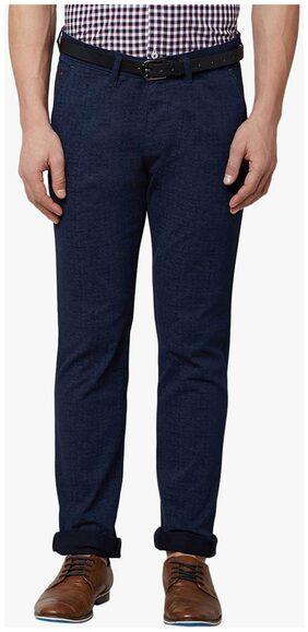Crimsoune Club Navy Blue Solid Trouser