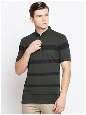 Crimsoune Club Men Slim fit Polo neck Striped T-Shirt - Green