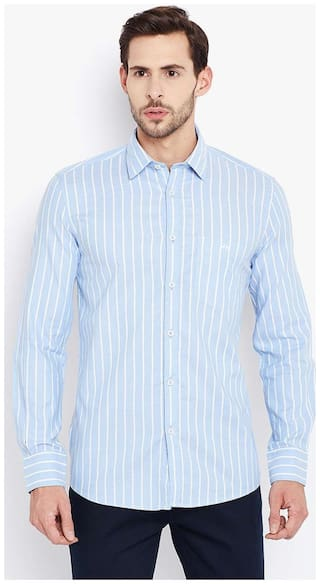 Crimsoune Club Men Blue Checked Slim Fit Casual Shirt