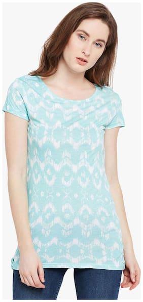 Crimsoune Club Women Geometric Round neck T shirt - Blue