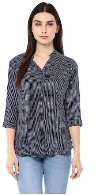 Crimsoune Club Navy Blue Printed Shirt