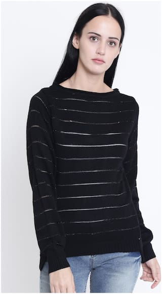 Crimsoune Club Women Striped Sweaters & Pullovers - Black
