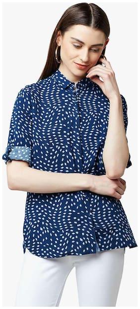 Crimsoune Club Navy Blue Printed Casual Shirt