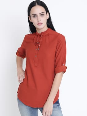 Crimsoune Club Women Blended Solid - Regular Top Red