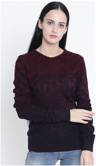 Crimsoune Club Women Solid Sweaters & Pullovers - Red