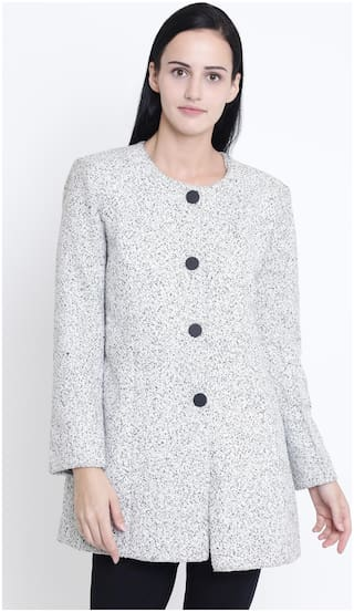 Crimsoune Club Women Solid Slim Fit Blazer - White