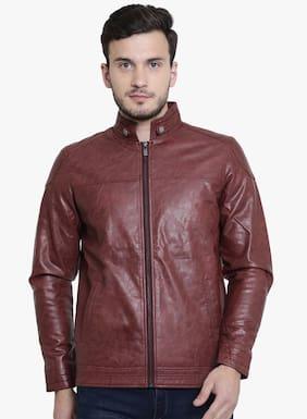 Crimsoune Club Men Pu Slim Fit Jacket - Red