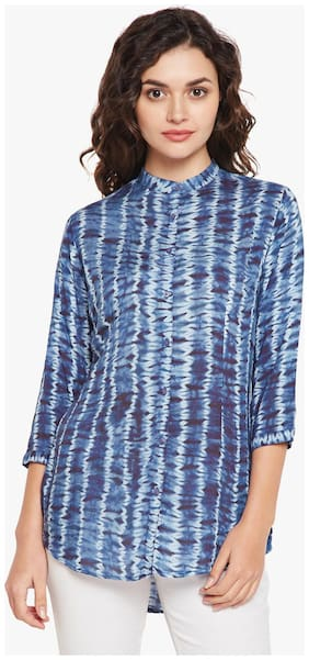 Crimsoune Club Women Slim Fit Printed Shirt - Blue