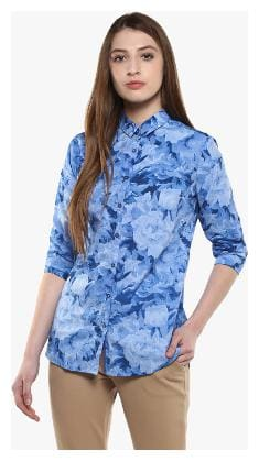 Crimsoune Club Blue Printed Casual Shirt