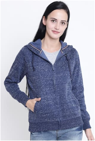 Crimsoune Club Women Solid Sweatshirt - Blue