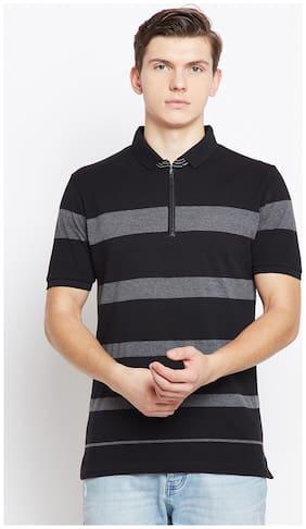 Crimsoune Club Men Slim fit Polo neck Striped T-Shirt - Blue