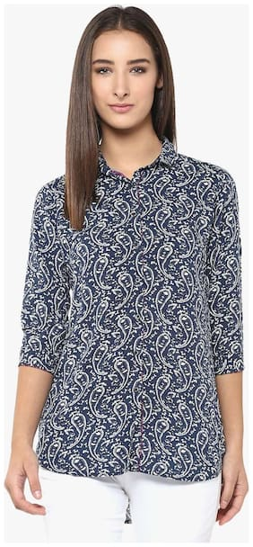 Crimsoune Club Women Polyester Solid - A-line top Blue