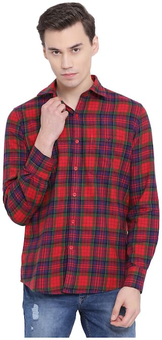 Crimsoune Club Men Red Checked Slim Fit Casual Shirt