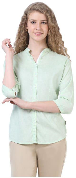 Crimsoune Club Green Self Pattern Casual Shirts
