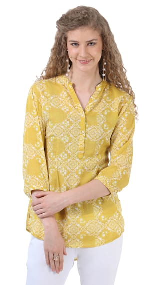 Crimsoune Club Yellow Printed Casual Shirts