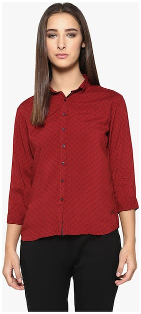 Crimsoune Club Women Slim fit Printed Shirt - Red
