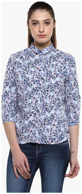 Crimsoune Club White Printed Casual Shirt