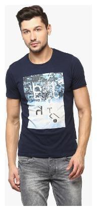 Crimsoune Club Navy Blue Graphic Round Neck Tshirt