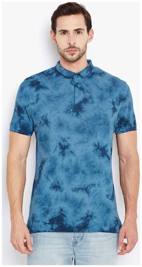 Crimsoune Club Blue Printed Polo Tshirt