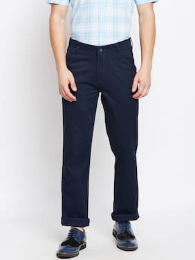 Crimsoune Club Navy Blue Plain Straight Casual Trouser