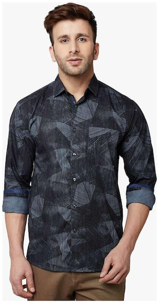 Crimsoune Club Men Blue Printed Regular Fit Casual Shirt