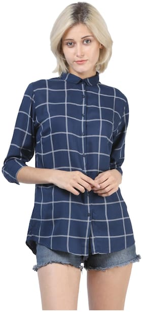 Crimsoune Club Navy Blue Checked Casual Shirts
