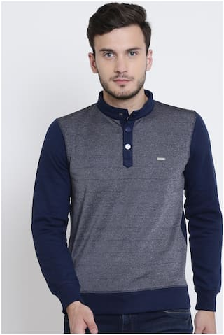 Crimsoune Club Men Blue High neck Sweatshirt