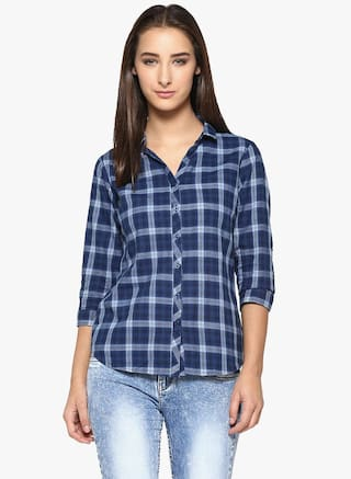 Casual Club Check Shirt Blue Crimsoune 81xBTwq8U