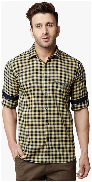 Crimsoune Club Men Yellow Checked Slim Fit Casual Shirt