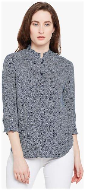 Crimsoune Club Women Cotton Striped - A-line Top Blue
