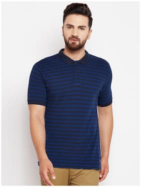 Crimsoune Club Men Slim fit Polo neck Striped T-Shirt - Blue