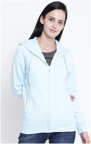 Crimsoune Club Women Solid Sweatshirt - Blue