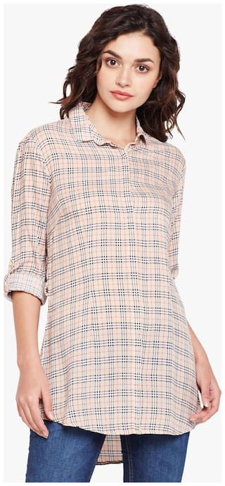 Crimsoune Club Women Checked Regular top - Beige