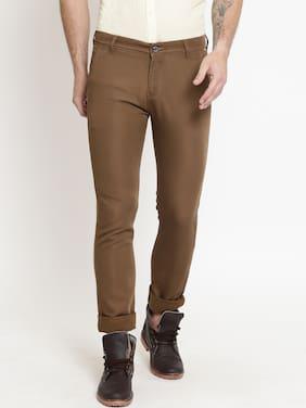 Crimsoune Club Men Slim Fit ( Slim Fit ) Casual Trouser - Brown