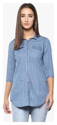 Crimsoune Club Navy Blue Printed Casual Shirt