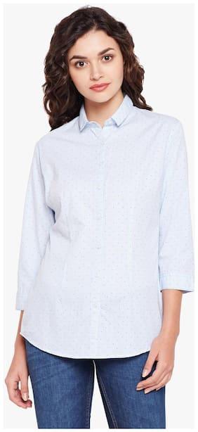 Crimsoune Club Women Slim Fit Printed Shirt - White