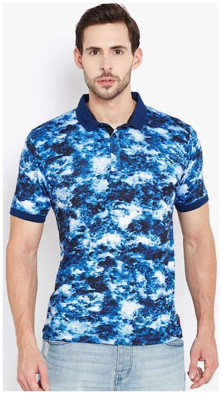 Crimsoune Club Men Regular fit Polo neck Printed T-Shirt - Blue