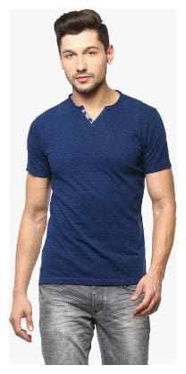 Men Henley Neck Solid T-Shirt