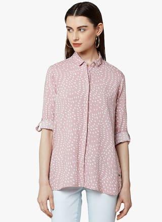 Crimsoune Club Pink Printed Casual Shirt