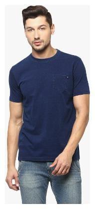 Crimsoune Club Men Slim fit Boat neck Solid T-Shirt - Blue